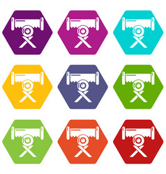 Cutting saw icons set 9 vector