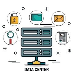 Data center tower icons isolated vector