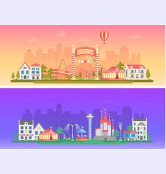 day night amusement park - set of modern flat vector image