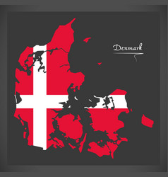 Denmark map with danish national flag vector