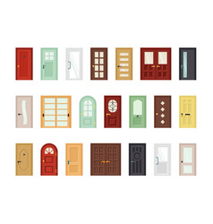 detailed front doors flat icons set vector image