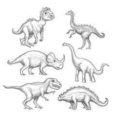 Dinosaur paleontology exhibition collection vector