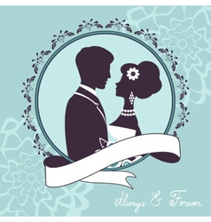 Elegant wedding couple in silhouette vector image