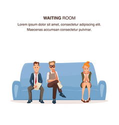 Employee sit in queue on couch in waiting room vector