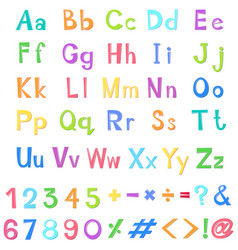 English alphabets and numbers in many colors vector