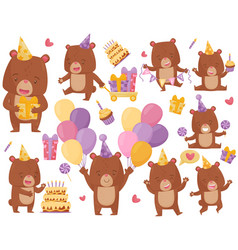 flat set of happy brown bear in different vector image