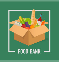 Food bank simple concept time to donate food vector