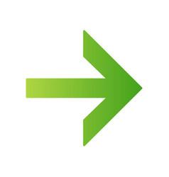 Forward green arrow flat design long shadow color vector