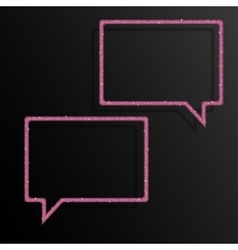 Frame pink sequins speech bubble sparkle stars vector