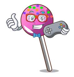 gamer lollipop with sprinkles mascot cartoon vector image