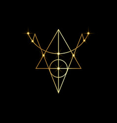 Golden sigil protection magical amulet wiccan vector