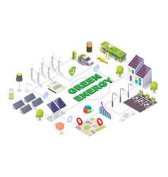 green energy isometric flowchart alternative vector image