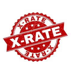 Grunge textured x-rate stamp seal vector