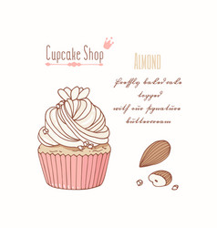 Hand drawn cupcake almond flavor vector