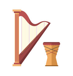 Harp icon golden stringed musical instrument vector