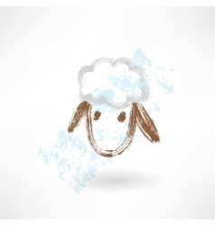 Head of sheep grunge icon vector