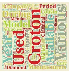 History of croton watch text background wordcloud vector