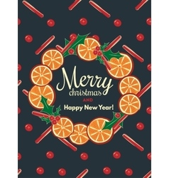 Holiday background with cinnamon and orange vector image