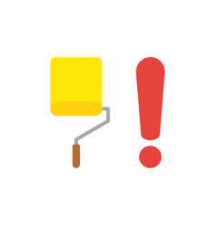 icon concept of yellow paint roller brush with vector image