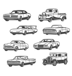 Icons of retro cars and vintage automobiles vector