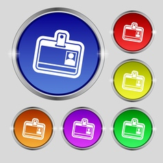 Id card icon sign Round symbol on bright colourful vector
