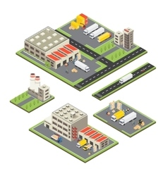 Isometric Warehouse Territories Set vector image