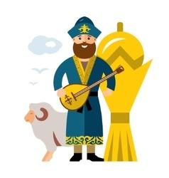 Kazakh man historical clothes kazakhstan vector