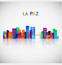 La paz skyline silhouette in colorful geometric vector