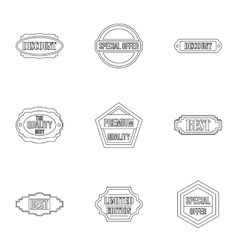 Label icons set outline style vector