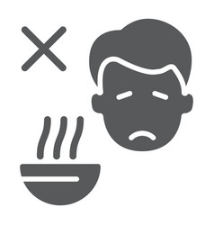 Loss appetite glyph icon diet and covid-19 vector