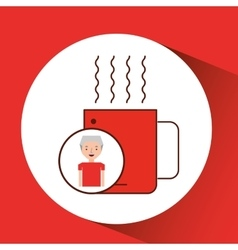 Man old gift cup coffee graphic vector