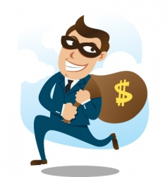 man wearing suit stealing money vector image