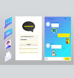 messenger interface chatting page vector image