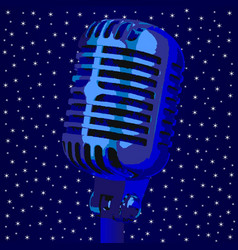 Microphone stary night background vector