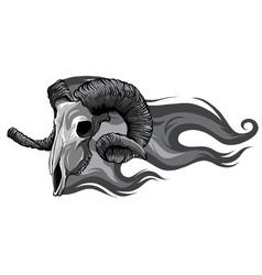 Monochromatic skull ram side flaming set vector
