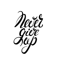 Never give up lettering vector image