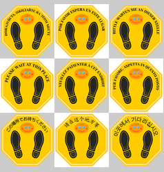 Octagonal yellow sticker wait at this place vector