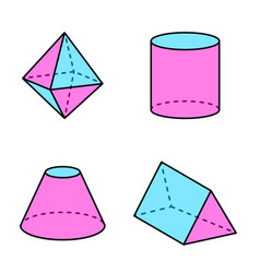 octahedron and triangular prism vector image