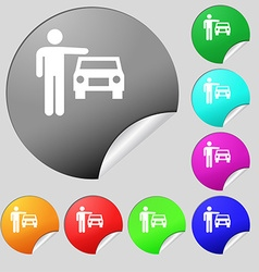 person up hailing a taxi icon sign Set of eight vector image