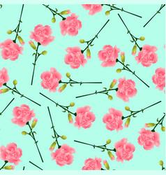 pink carnation flower on green mint background vector image