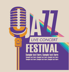 Poster for a jazz music festival with a microphone vector
