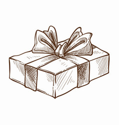 present decorated with ribbon and row isolated vector image