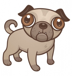 pug puppy cartoon vector image