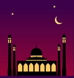 ramadan mubarak background template with mosque vector image