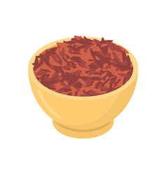 Red rice in wooden bowl isolated groats in wood vector