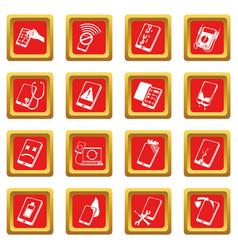repair phones fix icons set red square vector image