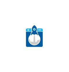 rocket laundry logo icon design vector image