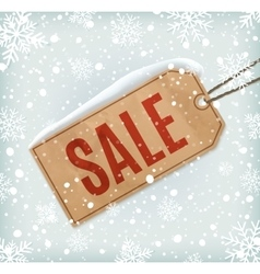 Sale paper tag on background with snowflakes and vector image
