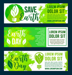 save nature and earth environment banners vector image
