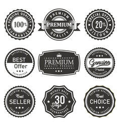 seal and labels premium quality prouct vector image
